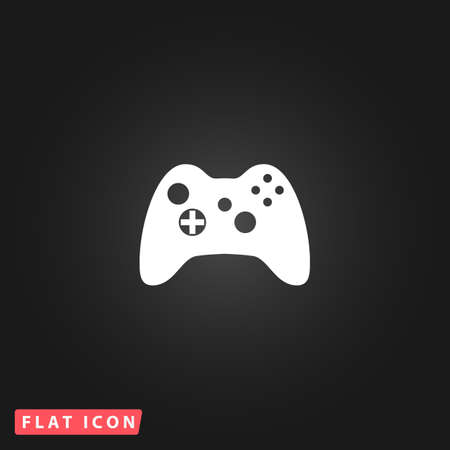gamepad: Gamepad. White flat simple vector icon on black background