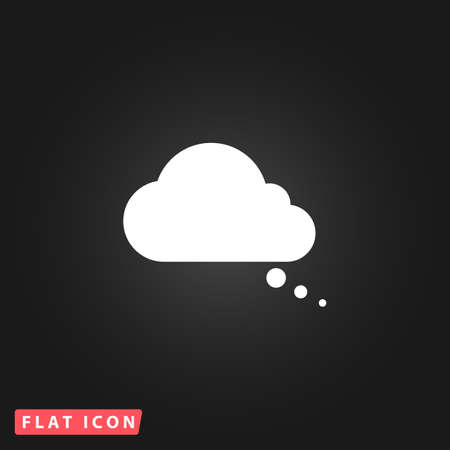 halfone: Cloud thought. White flat simple vector icon on black background Illustration