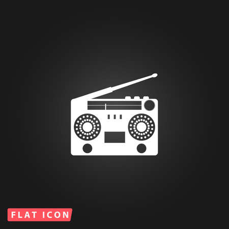 Classic 80s boombox. White flat simple vector icon on black background