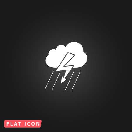 lightening: Cloud thunderstorm lightning rain. White flat simple vector icon on black background