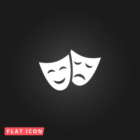 theater masks: Happy and sad Theater masks. White flat simple vector icon on black background