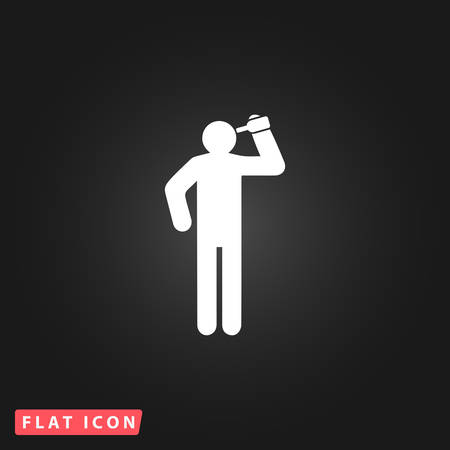 to consume: People consume alcohol or water. White flat simple vector icon on black background Illustration