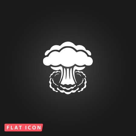 mushroom cloud: Mushroom cloud, nuclear explosion, silhouette. White flat simple vector icon on black background