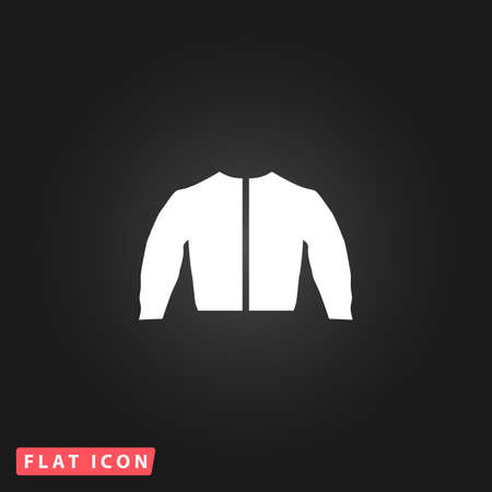 fur hood: Sports jacket. White flat simple vector icon on black background