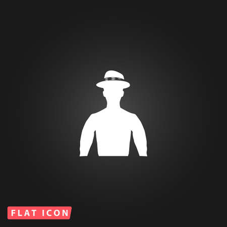 wrangler: Cowboy. White flat simple vector icon on black background