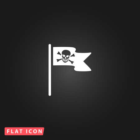 rippling: Jolly Roger or Skull and Cross bones Pirate flag. White flat simple vector icon on black background Illustration