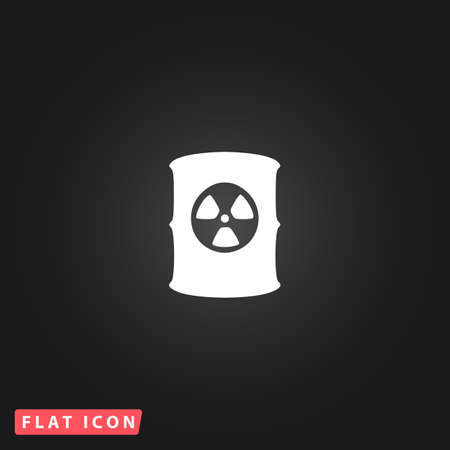 radioactive waste: Container with radioactive waste. White flat simple vector icon on black background Illustration