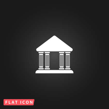 governmental: Court building. White flat simple vector icon on black background