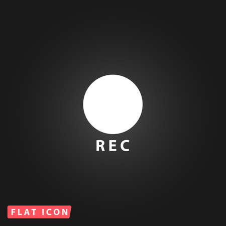 rec: Rec button. White flat simple vector icon on black background Illustration