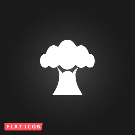 baobab tree: Baobab tree. White flat simple vector icon on black background