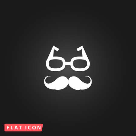 nerd glasses: Nerd glasses and mustaches. White flat simple vector icon on black background