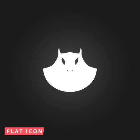 Executioner evil face mask. White flat simple vector icon on black background