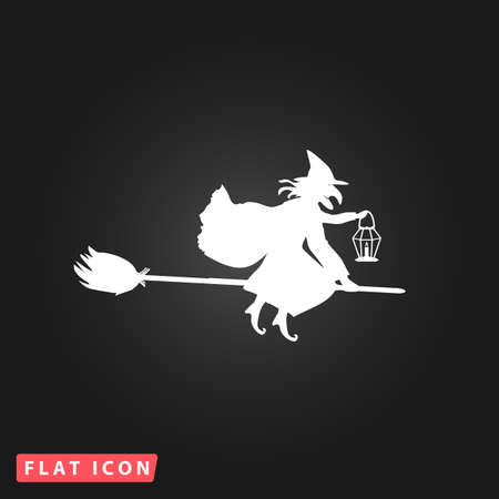 witch silhouette: Halloween witch. Silhouette. White flat simple vector icon on black background Illustration