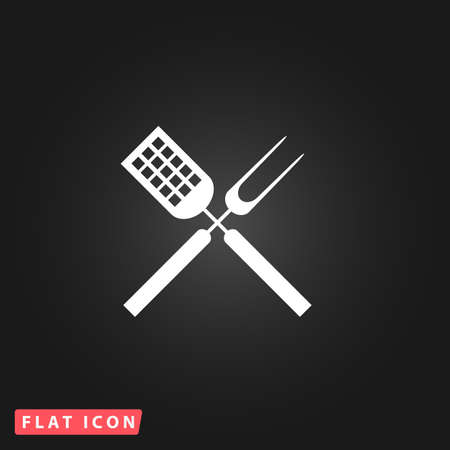 stirring: Barbecue utensils. White flat simple vector icon on black background