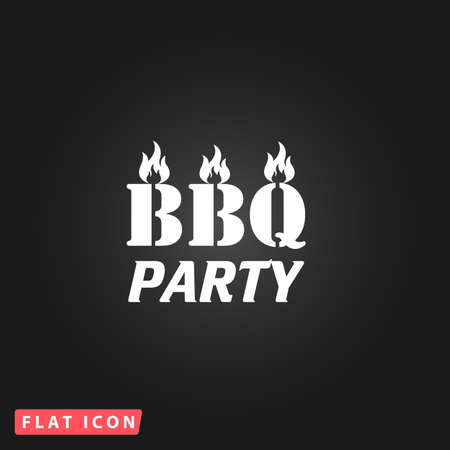 sizzling: Flaming BBQ Party word design element. White flat simple vector icon on black background Illustration