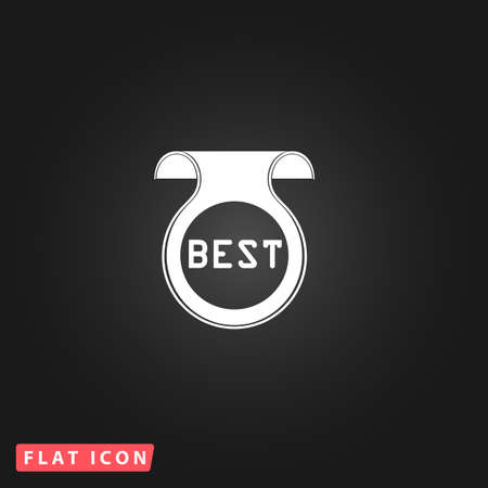 best message: Bookmark with Best message. White flat simple vector icon on black background
