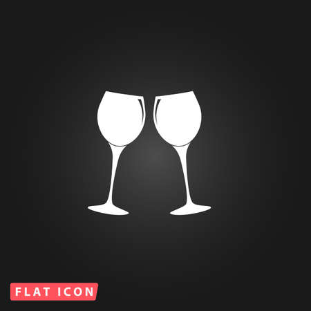 glasses icon: Two glasses of wine or champagne. White flat simple vector icon on black background