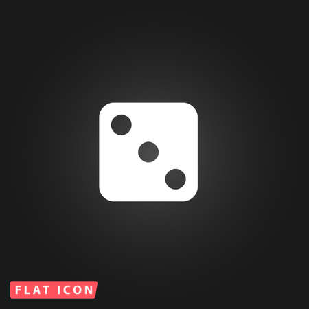 stake: One dices - side with 3. White flat simple vector icon on black background