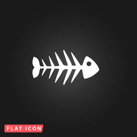 skeleton of fish: Fish skeleton. White flat simple vector icon on black background