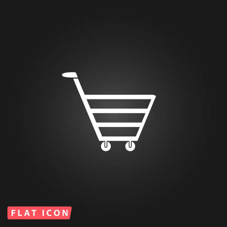 AI: Trolley market. White flat simple vector icon on black background