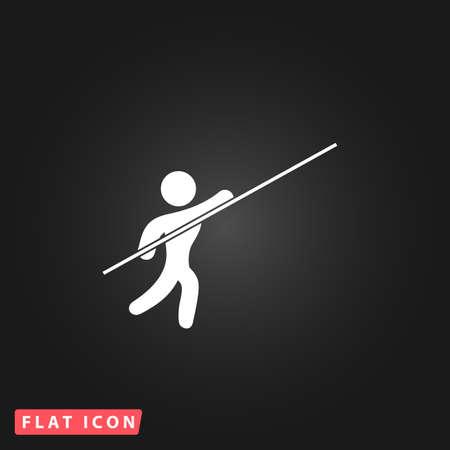 pole vault: Pole vault athlete. White flat simple vector icon on black background