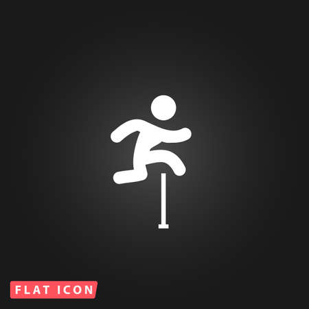 obstacles: Man figure jumping over obstacles. White flat simple vector icon on black background Illustration