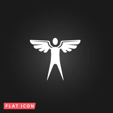 icarus: Winged man. White flat simple vector icon on black background