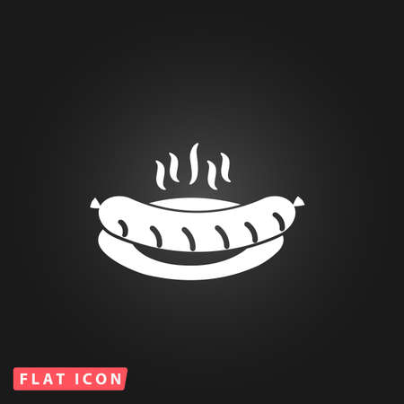 Hot Sausage on a plate. White flat simple vector icon on black background Illustration
