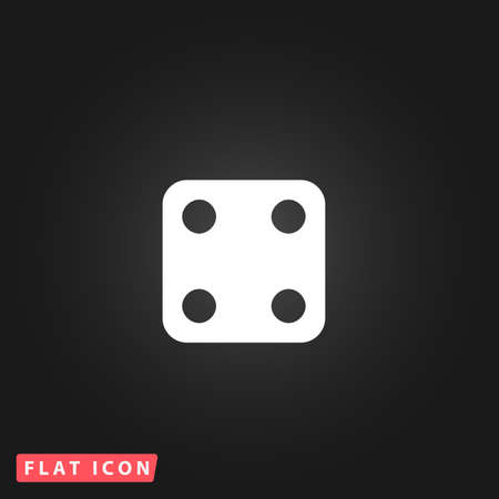 wager: One dices - side with 4. White flat simple vector icon on black background Illustration