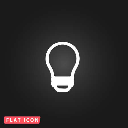 e27: Led lamp. White flat simple vector icon on black background