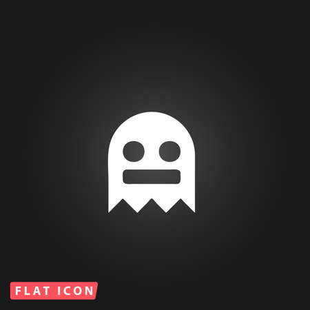 cute ghost: Kawaii cute ghost. White flat simple vector icon on black background Illustration
