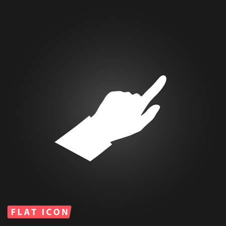 cursors: Hand Cursors. White flat simple vector icon on black background