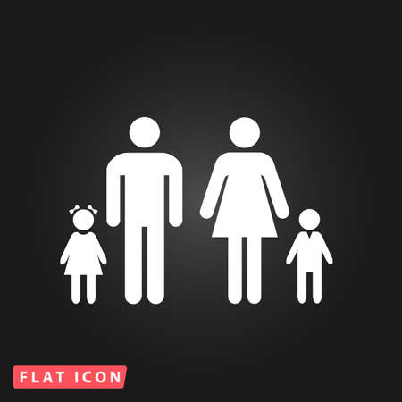 black family: Family. White flat simple vector icon on black background Illustration