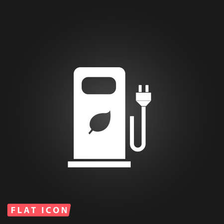 bio fuel: Electric car charging station or Bio fuel petrol. White flat simple vector icon on black background Illustration
