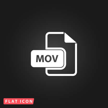 mov: MOV video file extension. White flat simple vector icon on black background