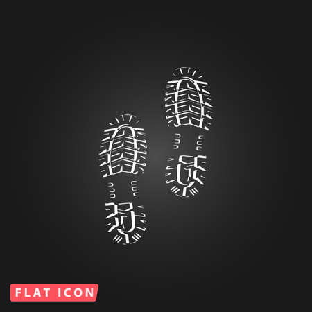 flat shoes: Clean shoe imprints. White flat simple vector icon on black background