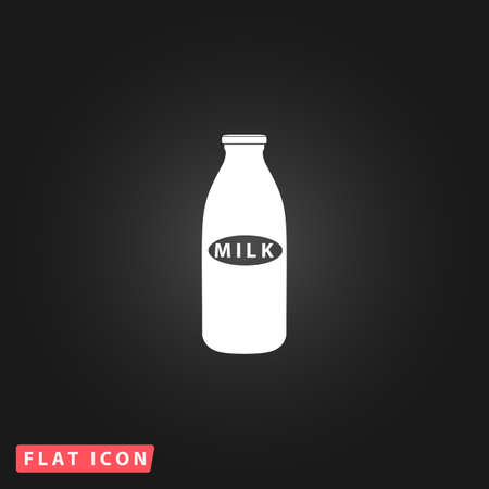 milk bottle: Milk bottle. White flat simple vector icon on black background
