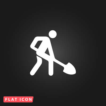 building site: Building site. White flat simple vector icon on black background