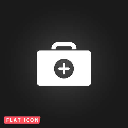 medical box: Medical box. White flat simple vector icon on black background