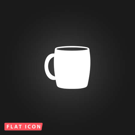 guests website: Tea cup. White flat simple vector icon on black background