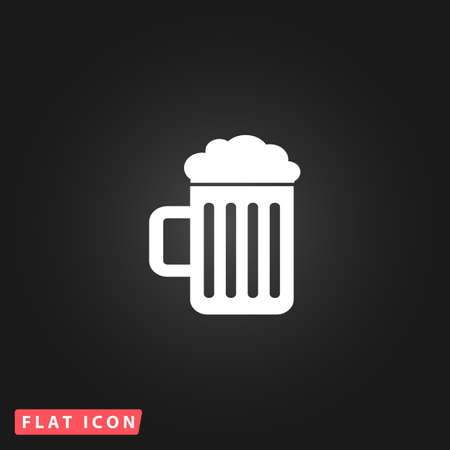 un bottled: Simple Beer mug. White flat simple vector icon on black background