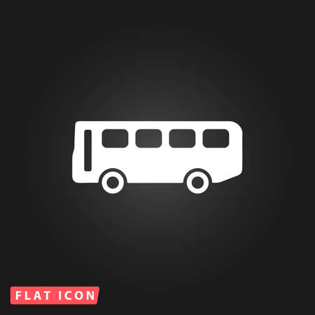 old bus: Old Bus. White flat simple vector icon on black background Illustration