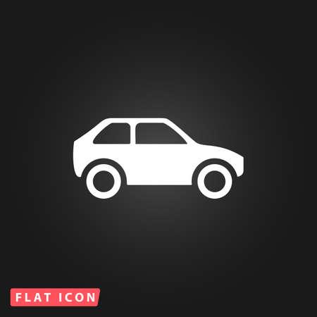 hatchback: Hatchback Car. White flat simple vector icon on black background