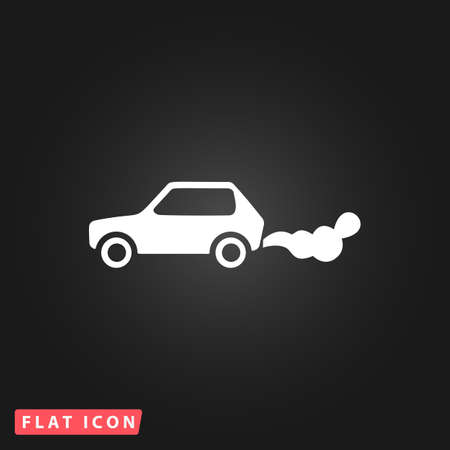 pollution icon: Car emits carbon dioxide. White flat simple vector icon on black background