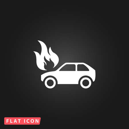 inundation: Car fire. White flat simple vector icon on black background
