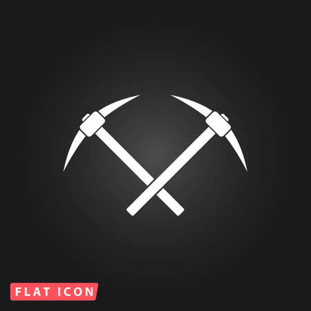 pickaxe: Crossed powered icebreaker. White flat simple vector icon on black background