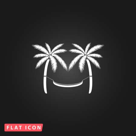 hamaca: Hamaca y palmeras. Blanco plano simple icono del vector en el fondo negro