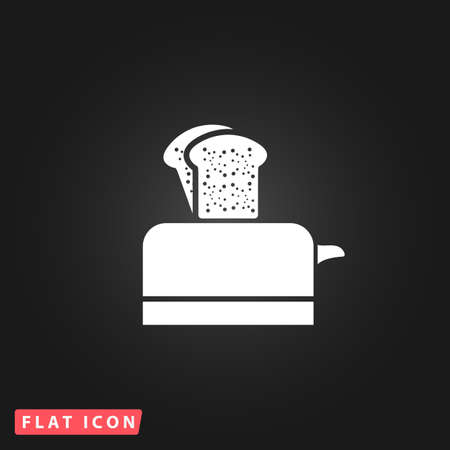 bread maker: Toaster. White flat simple vector icon on black background