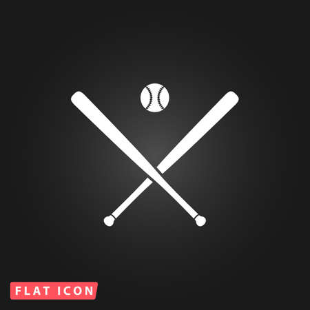 pitching: Crossed baseball bats and ball. White flat simple vector icon on black background