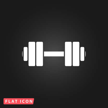 Simple Dumbbell. White flat simple vector icon on black background Illustration